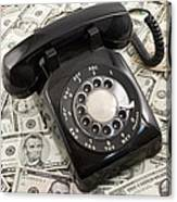 Old Rotary Phone On Money Background Canvas Print