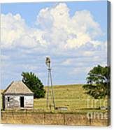 Old Rush County Farmhouse With Windmill Canvas Print