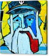 Old Sailor With Pipe Expressionist Portrait Canvas Print