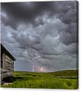 Old School House And Lightning Canvas Print