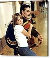 Old School Roller Derby Skater And His Number One Fan Canvas Print