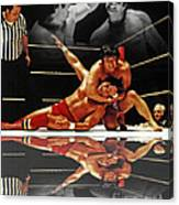 Old School Wrestling Headlock By Dean Ho On Don Muraco With Reflection Canvas Print