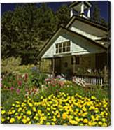 Old Schoolhouse And Garden. Canvas Print