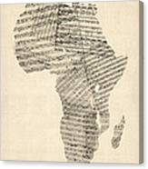 Old Sheet Music Map Of Africa Map Canvas Print