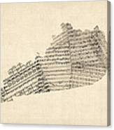 Old Sheet Music Map Of Kentucky Canvas Print