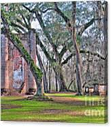 Old Sheldon Church Angled With Tombs Canvas Print