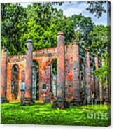 Old Sheldon Church Ruins Canvas Print