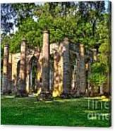 Old Sheldon Church Ruins In South Carolina Canvas Print