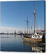 Old Ship In Calm Water Harbor Canvas Print