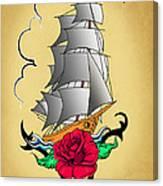 Old Ship Tattoo  Canvas Print