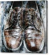 Old Shoes Frozen In Ice Canvas Print