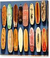 Old Skateboards On Display Canvas Print