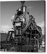 Old Steam Engine Black And White Canvas Print