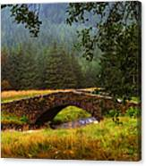 Old Stone Bridge Over Kinglas River. Scotland Canvas Print