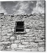 Old Stone Wall Black And White Photograph Canvas Print
