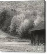 Old Tobacco Barn In Black And White Canvas Print