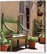 Old Town Albuquerque Green Bench Canvas Print