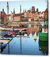 Old Town Of Gdansk Skyline And Marina Canvas Print
