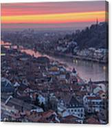 Old Town Of Heidelberg At Sunset Canvas Print