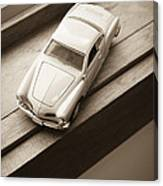 Old Toy Car On The Window Sill Canvas Print