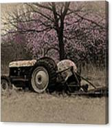Old Tractor And Redbuds Sepia Canvas Print