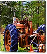 Old Tractor Digital Paint Canvas Print