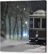 Old Tram On The  Street Canvas Print