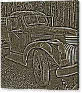 Old Truck In Sepia Canvas Print