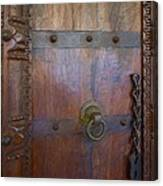 Old Vintage Door With Chain Canvas Print