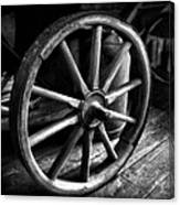 Old Wagon Wheel Black And White Canvas Print