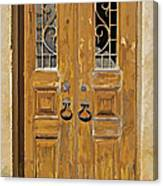 Old Weathered Brown Wood Door Of Portugal Canvas Print