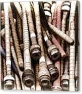 Old Weaving Spools Canvas Print