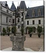 Old Well And Courtyard Chateau Chaumont Canvas Print