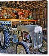Old White Ford Tractor Canvas Print