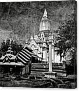 Old Whitewashed Lemyethna Temple Bw Canvas Print