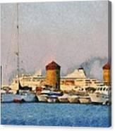 Old Windmills And Cruise Ship Canvas Print