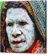 Old Woman In Traditional Shawl Canvas Print