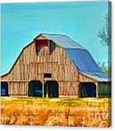 Old Wood Barn  Digital Paint Canvas Print