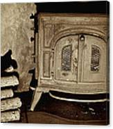 Old Wood Stove Canvas Print