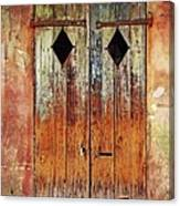 Old Wooden Door In French Quarter Canvas Print