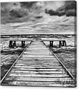 Old Wooden Jetty During Storm On The Sea Canvas Print