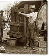 Old  Wooden Wine Press Circa 1910 Canvas Print