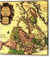 Old World Map Of Canada Canvas Print