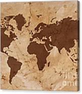 Old World Map On Creased And Stained Parchment Paper Canvas Print