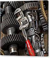 Old Wrenches On Gears Canvas Print