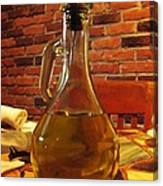 Olive Oil On Table Canvas Print