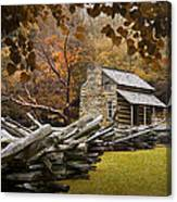 Oliver's Log Cabin During Fall In The Great Smoky Mountains Canvas Print