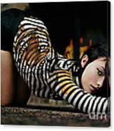Olivia Wild And The Tiger Canvas Print