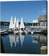 On A Beautiful Maine Summer Morning On The Island Of North Havenjunior Sailing Participants Rig Sailboats Canvas Print