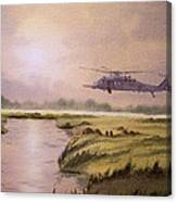 On A Mission - Hh60g Helicopter Canvas Print